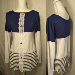 Tops - Navy Blue and White Long Sleeve 95% Poly #115